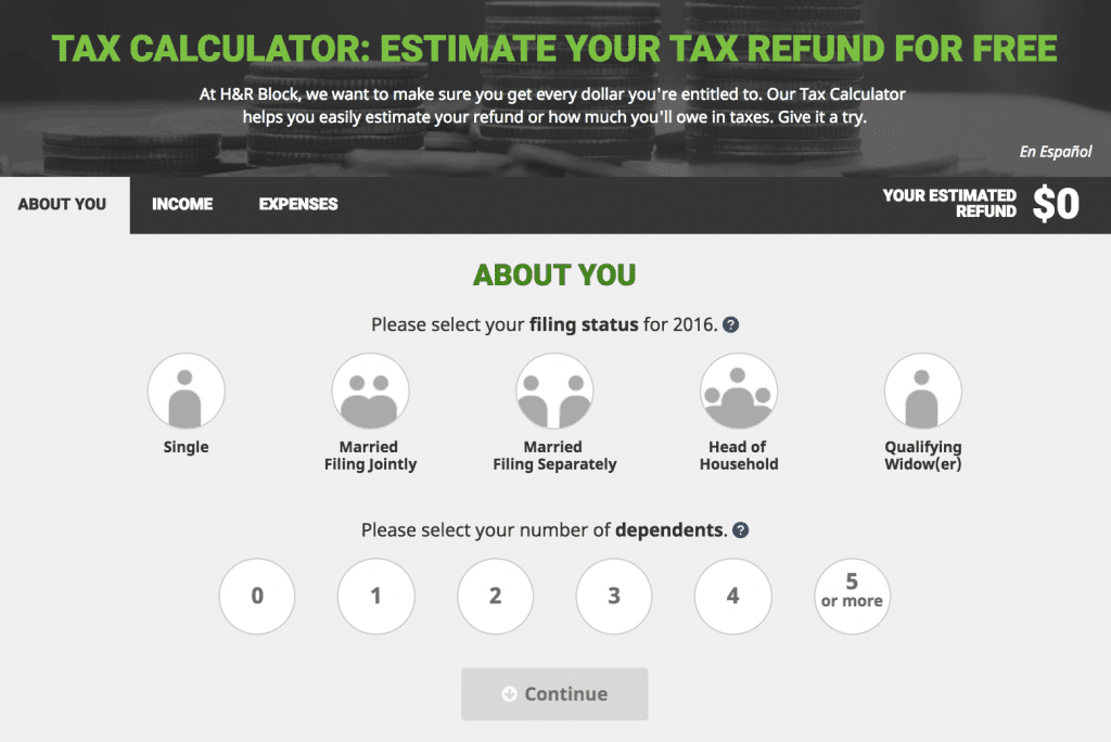 H&R Block Tax Calculator