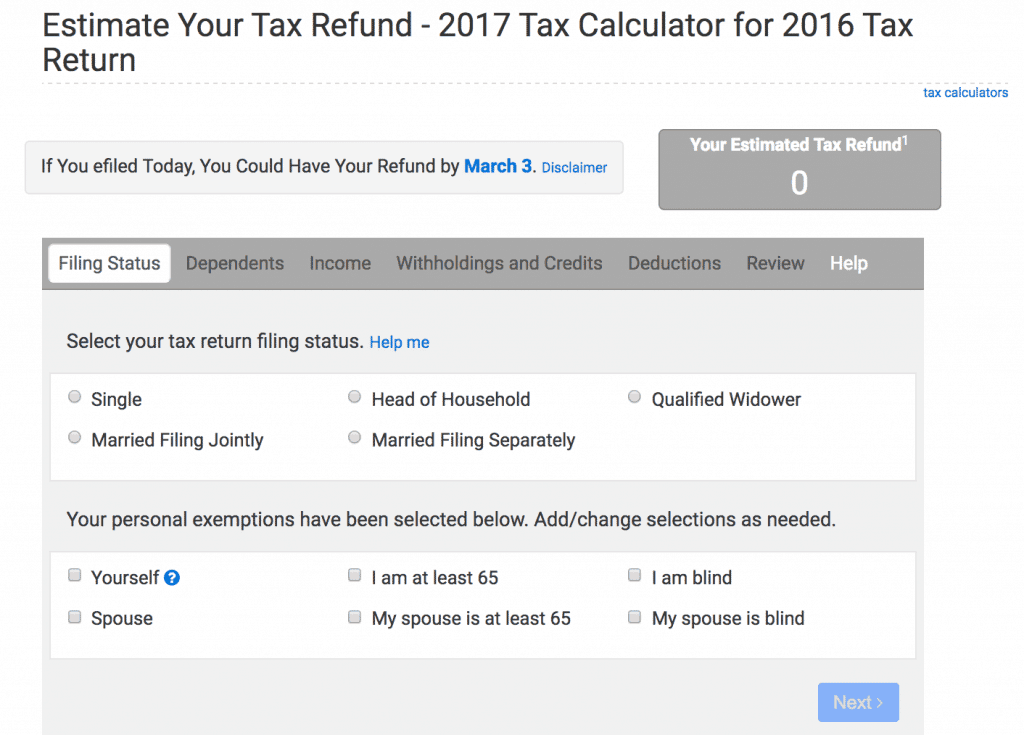 e-File Tax Calculator
