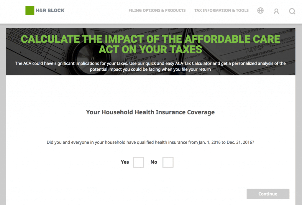 H&R Block Affordable Care Act Calculator